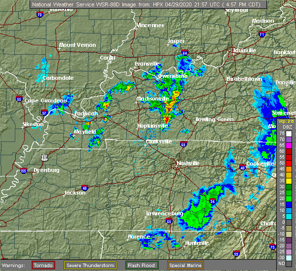 Radar Image for Severe Thunderstorms near Lewisburg, KY at 4/29/2020 5:00 PM CDT