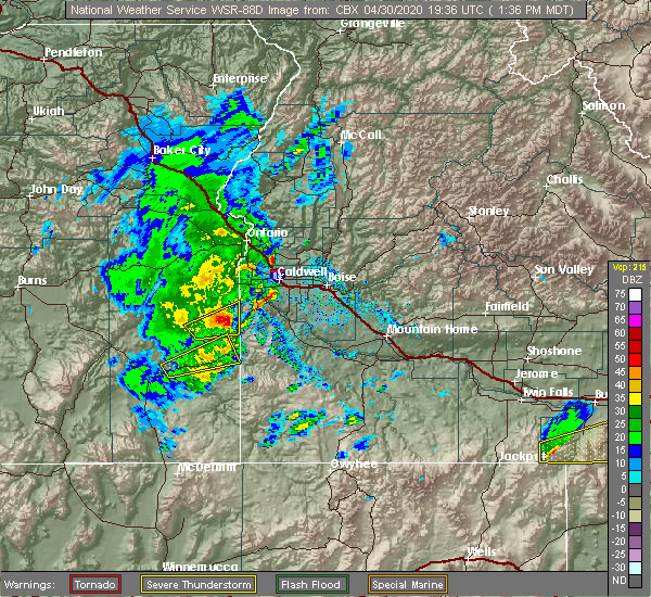 Radar Image for Severe Thunderstorms near Caldwell, ID at 4/30/2020 1:42 PM MDT