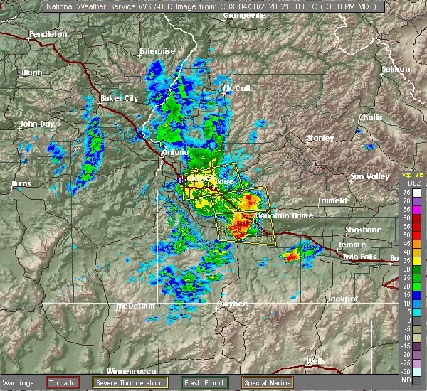 Radar Image for Severe Thunderstorms near Caldwell, ID at 4/30/2020 3:11 PM MDT