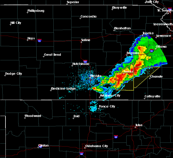 Radar Image for Severe Thunderstorms near Severy, KS at 5/3/2020 7:39 AM CDT