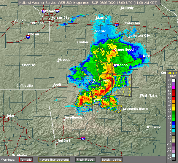 Radar Image for Severe Thunderstorms near Ava, MO at 5/3/2020 11:06 AM CDT