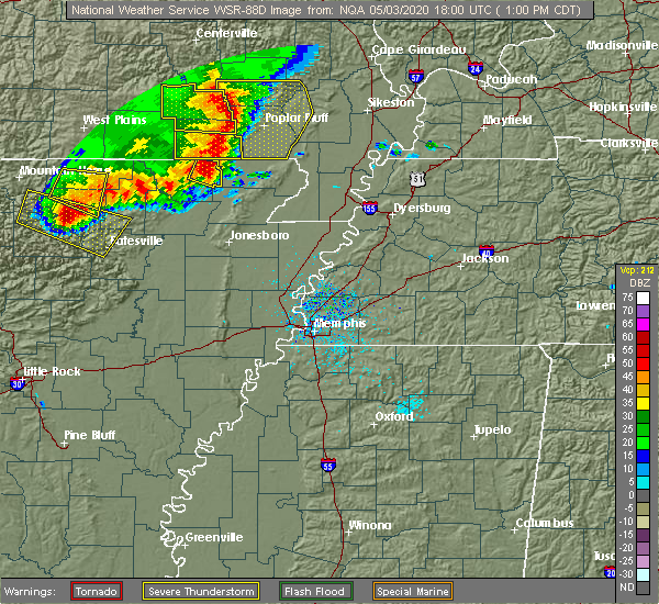Radar Image for Severe Thunderstorms near Delaplaine, AR at 5/3/2020 1:02 PM CDT