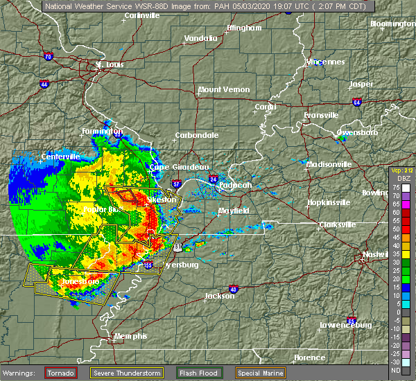 Radar Image for Severe Thunderstorms near Blodgett, MO at 5/3/2020 2:12 PM CDT