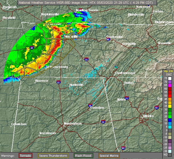 Radar Image for Severe Thunderstorms near Tullahoma, TN at 5/3/2020 4:33 PM CDT