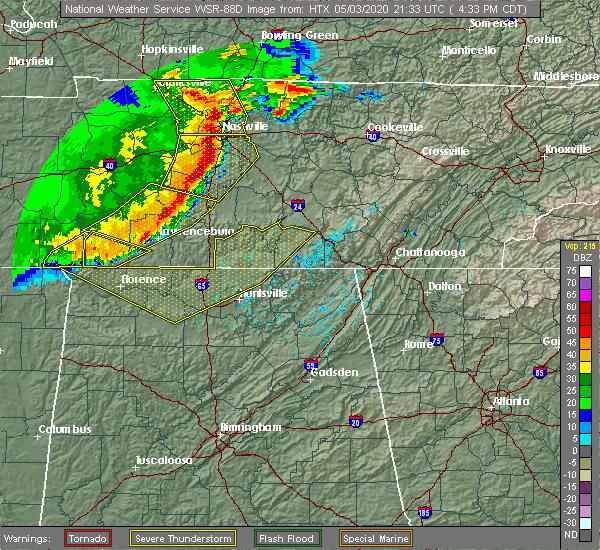 Radar Image for Severe Thunderstorms near Lawrenceburg, TN at 5/3/2020 4:38 PM CDT