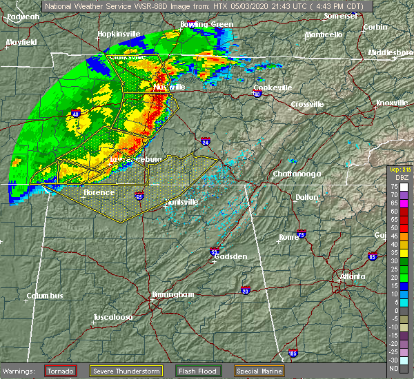 Radar Image for Severe Thunderstorms near Murfreesboro, TN at 5/3/2020 4:44 PM CDT