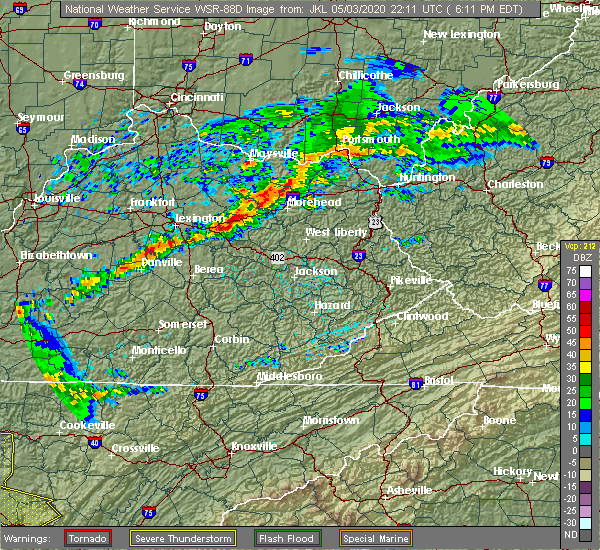 Radar Image for Severe Thunderstorms near Frenchburg, KY at 5/3/2020 6:14 PM EDT