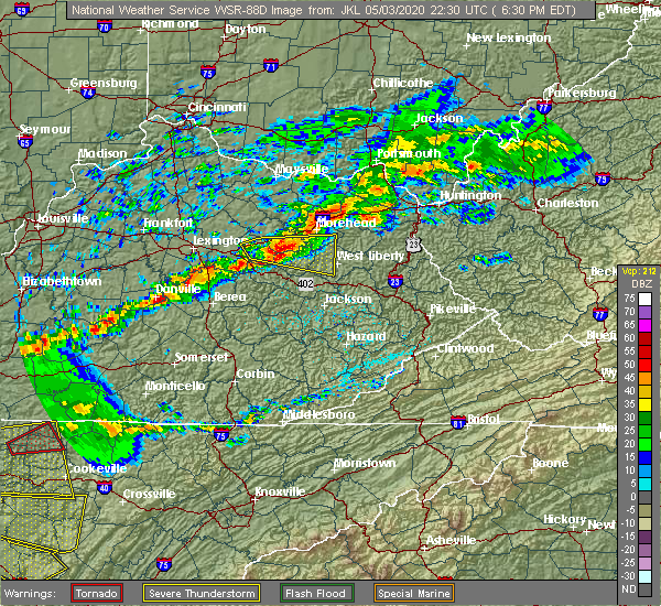 Radar Image for Severe Thunderstorms near Frenchburg, KY at 5/3/2020 6:33 PM EDT