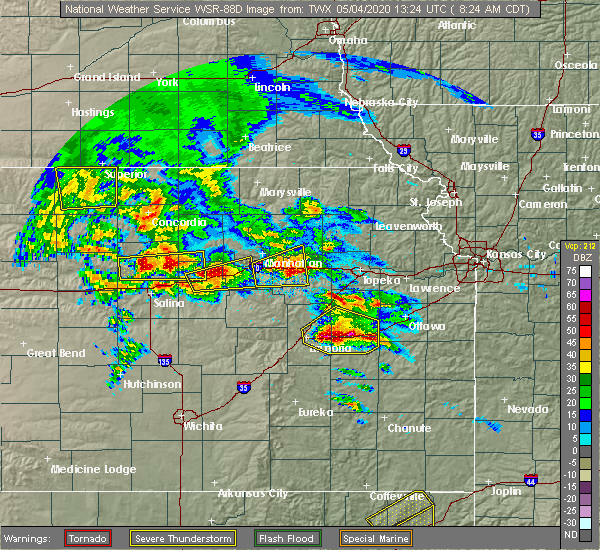 Radar Image for Severe Thunderstorms near Manchester, KS at 5/4/2020 8:27 AM CDT