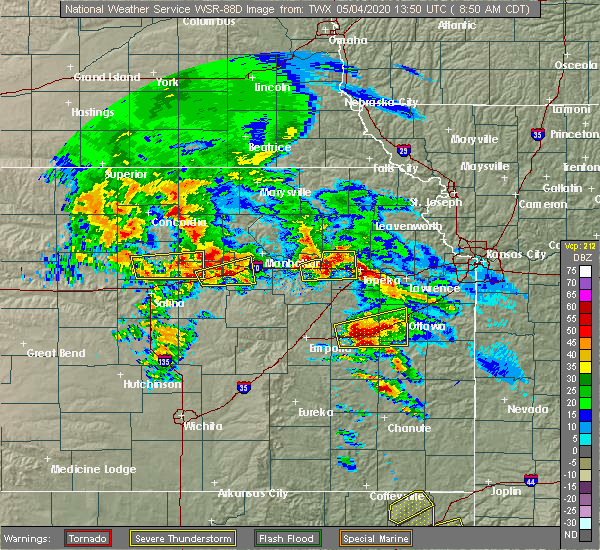 Radar Image for Severe Thunderstorms near Wakefield, KS at 5/4/2020 8:54 AM CDT