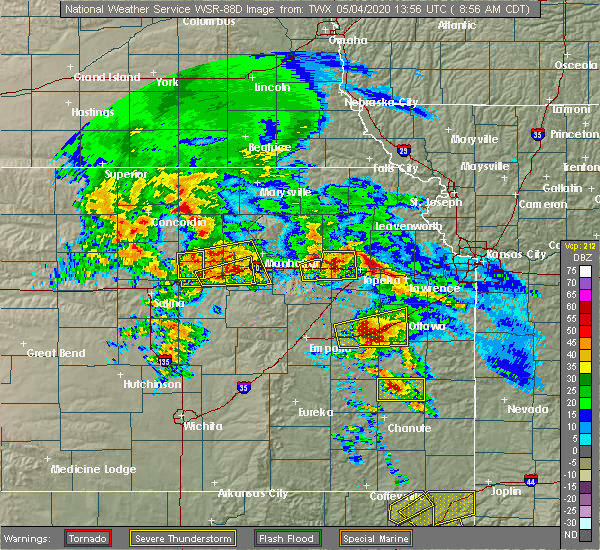 Radar Image for Severe Thunderstorms near Silver Lake, KS at 5/4/2020 9:03 AM CDT
