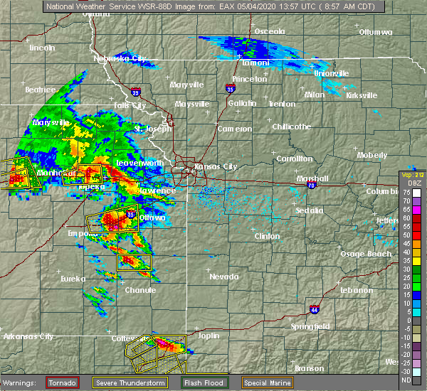 Radar Image for Severe Thunderstorms near Lone Elm, KS at 5/4/2020 9:03 AM CDT