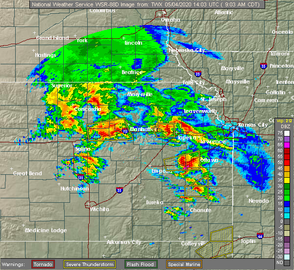 Radar Image for Severe Thunderstorms near Hoyt, KS at 5/4/2020 9:09 AM CDT