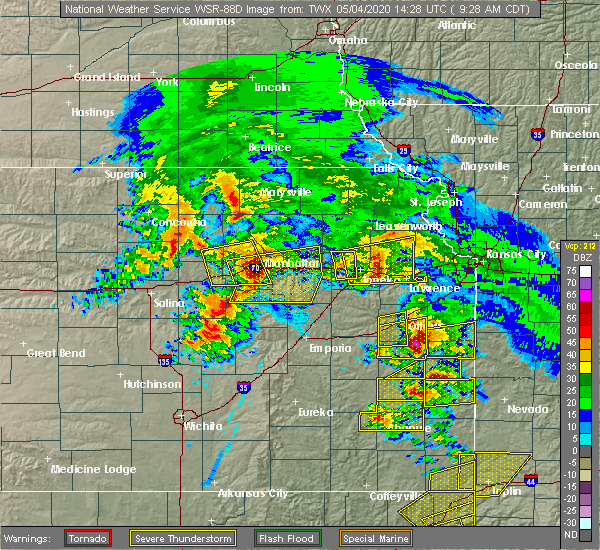 Radar Image for Severe Thunderstorms near Eskridge, KS at 5/4/2020 9:35 AM CDT