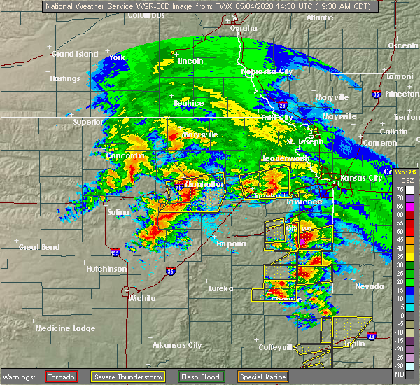 Radar Image for Severe Thunderstorms near Eskridge, KS at 5/4/2020 9:46 AM CDT