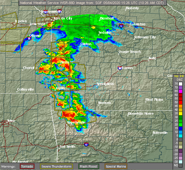 Radar Image for Severe Thunderstorms near Pea Ridge, AR at 5/4/2020 10:32 AM CDT