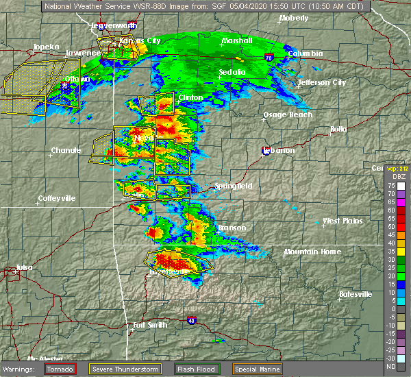Radar Image for Severe Thunderstorms near Sarcoxie, MO at 5/4/2020 10:53 AM CDT