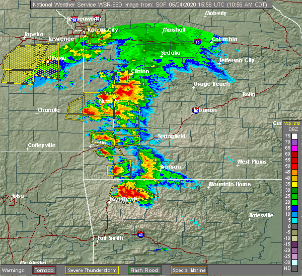 Radar Image for Severe Thunderstorms near Sarcoxie, MO at 5/4/2020 11:03 AM CDT