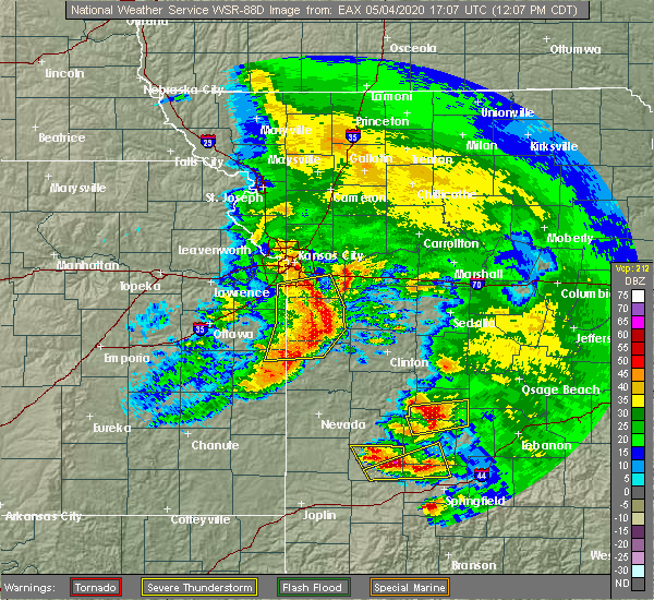 Radar Image for Severe Thunderstorms near Clinton, MO at 5/4/2020 12:11 PM CDT