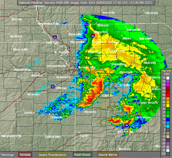 Radar Image for Severe Thunderstorms near Clinton, MO at 5/4/2020 12:44 PM CDT