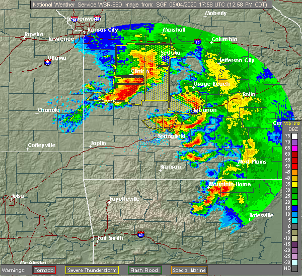 Radar Image for Severe Thunderstorms near Goodnight, MO at 5/4/2020 1:00 PM CDT