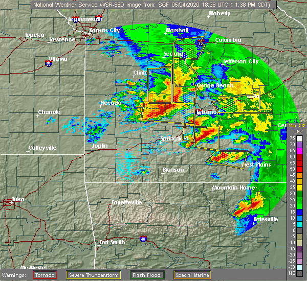 Radar Image for Severe Thunderstorms near Linn Creek, MO at 5/4/2020 1:46 PM CDT