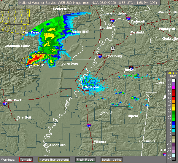 Radar Image for Severe Thunderstorms near College City, AR at 5/4/2020 2:03 PM CDT