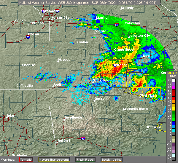 Radar Image for Severe Thunderstorms near Thomasville, MO at 5/4/2020 2:31 PM CDT