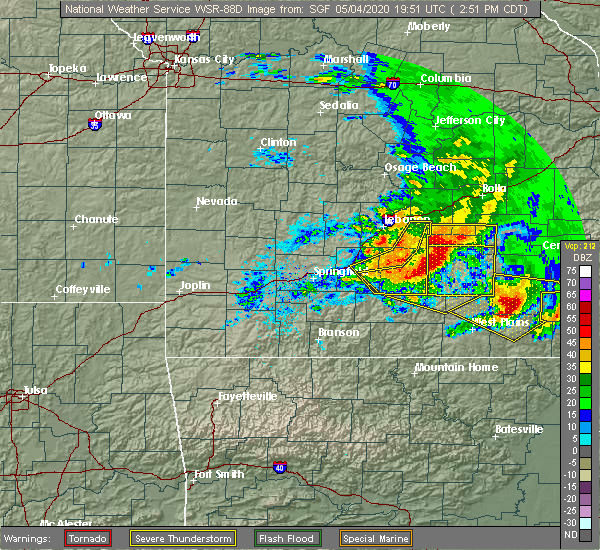 Radar Image for Severe Thunderstorms near Thomasville, MO at 5/4/2020 2:58 PM CDT