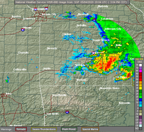 Radar Image for Severe Thunderstorms near Norwood, MO at 5/4/2020 3:08 PM CDT