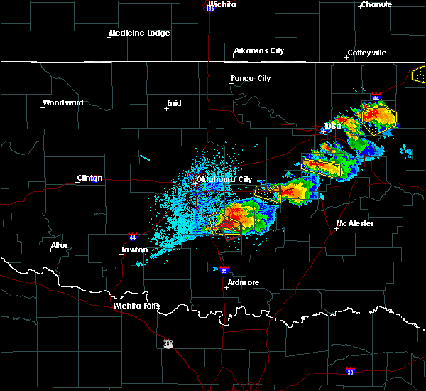 Radar Image for Severe Thunderstorms near Cromwell, OK at 5/4/2020 6:14 PM CDT