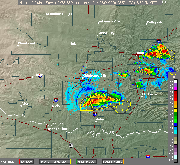 Radar Image for Severe Thunderstorms near Stonewall, OK at 5/4/2020 6:54 PM CDT