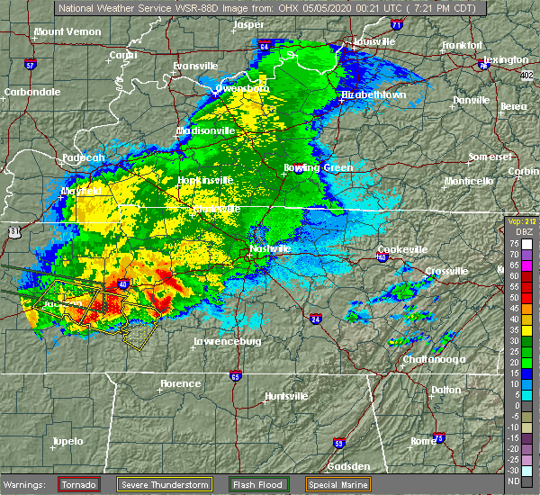 Radar Image for Severe Thunderstorms near Clifton, TN at 5/4/2020 7:28 PM CDT