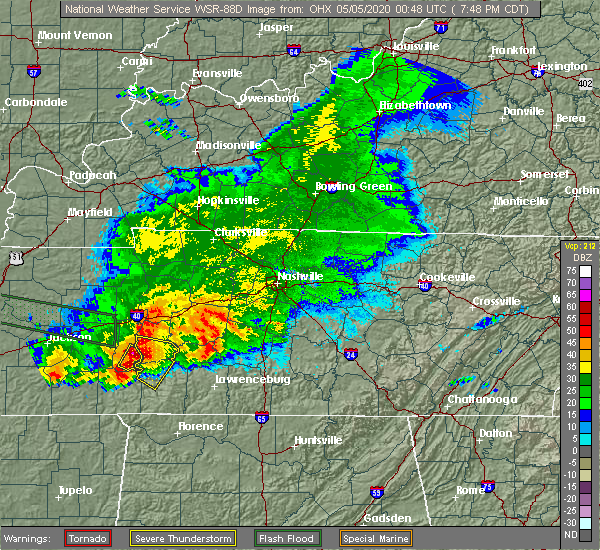 Radar Image for Severe Thunderstorms near Clifton, TN at 5/4/2020 7:53 PM CDT