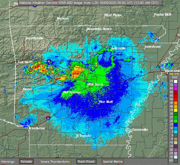 Radar Image for Severe Thunderstorms near Plumerville, AR at 5/5/2020 12:07 AM CDT