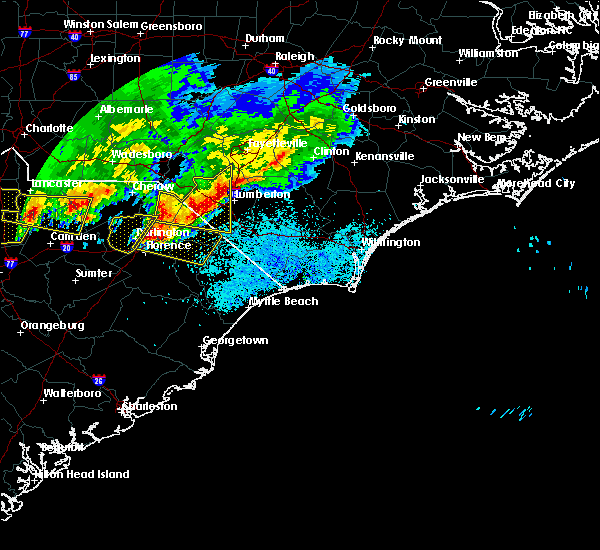 Radar Image for Severe Thunderstorms near Pembroke, NC at 5/5/2020 8:46 PM EDT