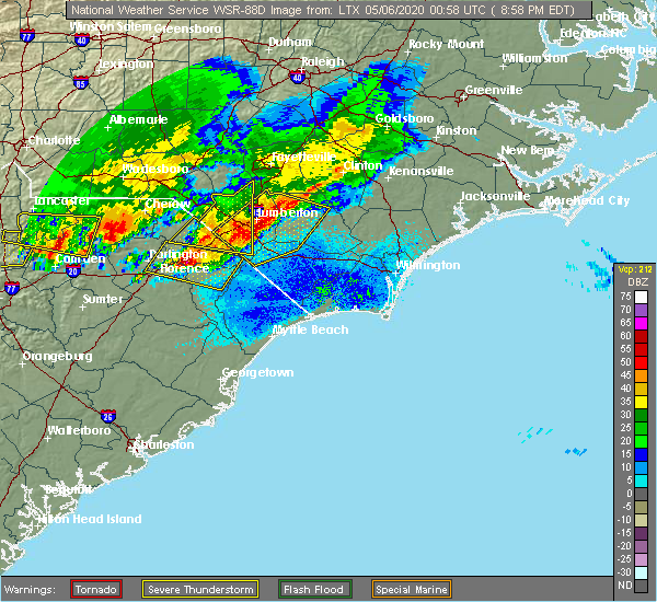 Radar Image for Severe Thunderstorms near Marion, SC at 5/5/2020 9:04 PM EDT