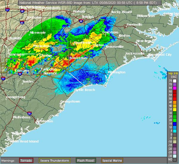 Radar Image for Severe Thunderstorms near Dillon, SC at 5/5/2020 9:04 PM EDT