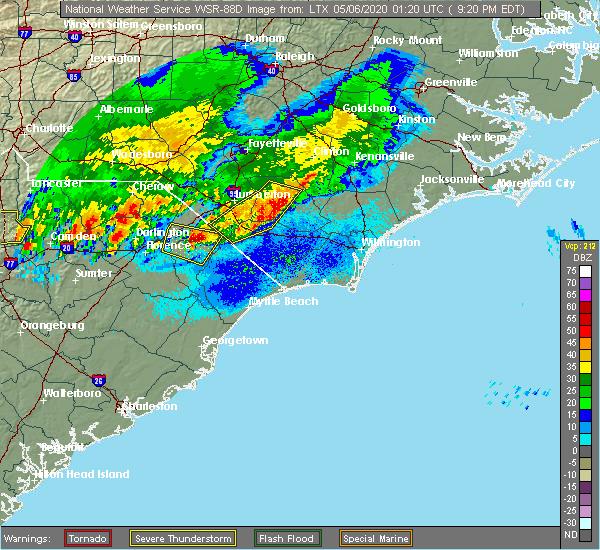 Radar Image for Severe Thunderstorms near Dillon, SC at 5/5/2020 9:26 PM EDT