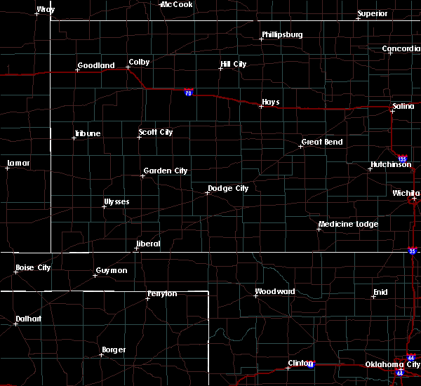 Radar Image for Severe Thunderstorms near Fowler, KS at 5/7/2020 8:13 PM CDT
