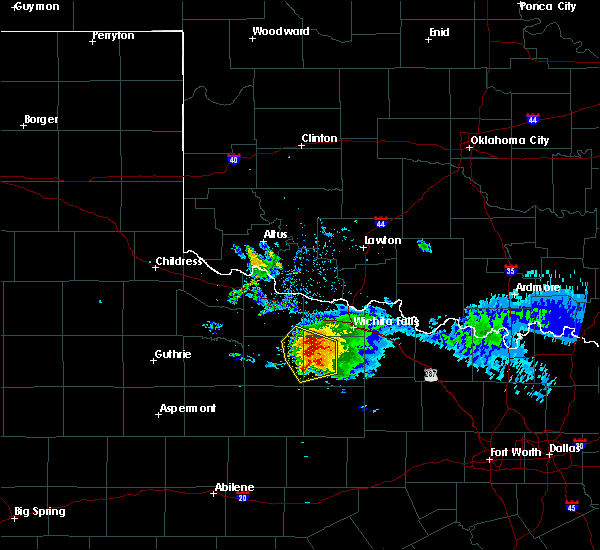 Radar Image for Severe Thunderstorms near Scotland, TX at 5/7/2020 8:13 PM CDT