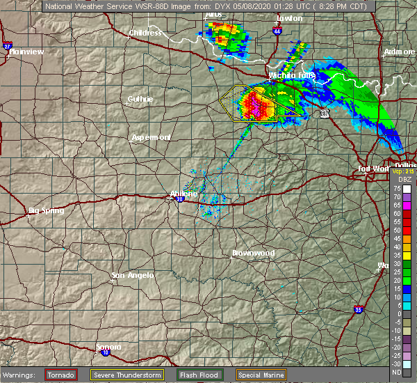Radar Image for Severe Thunderstorms near Bryson, TX at 5/7/2020 8:33 PM CDT