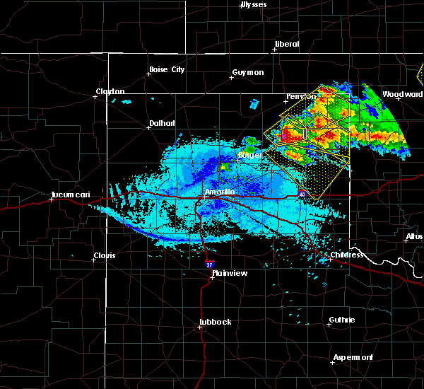Radar Image for Severe Thunderstorms near Canadian, TX at 5/7/2020 10:27 PM CDT