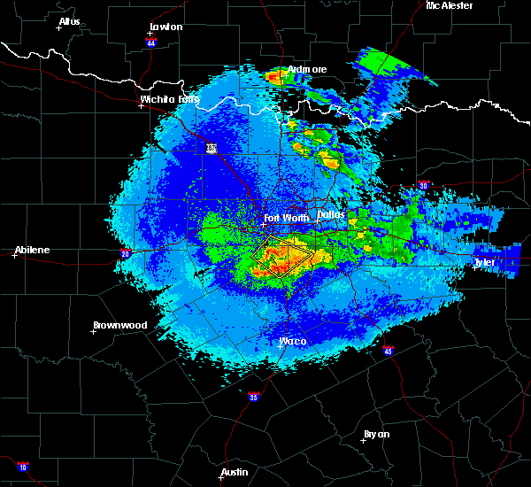 Radar Image for Severe Thunderstorms near Cleburne, TX at 5/7/2020 11:28 PM CDT
