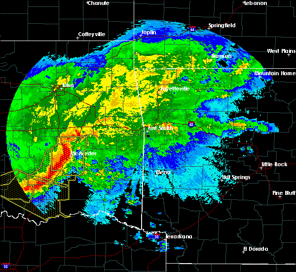Radar Image for Severe Thunderstorms near Pittsburg, OK at 5/8/2020 2:43 AM CDT