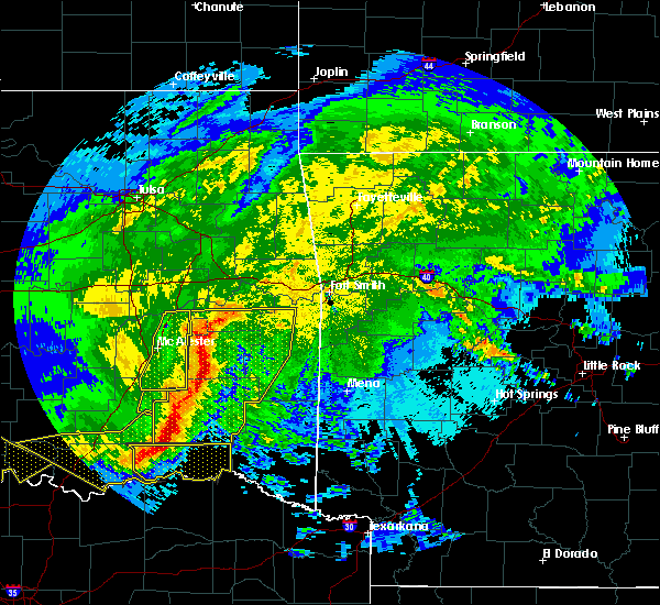 Radar Image for Severe Thunderstorms near Pittsburg, OK at 5/8/2020 3:13 AM CDT