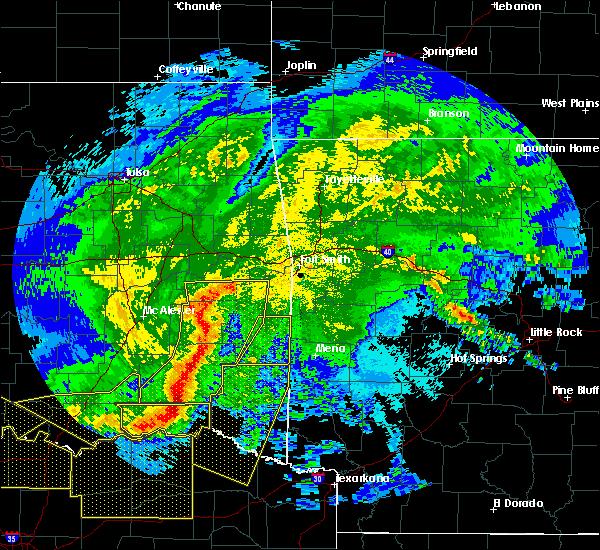 Radar Image for Severe Thunderstorms near Swink, OK at 5/8/2020 3:32 AM CDT