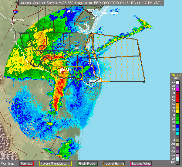 Radar Image for Severe Thunderstorms near North Alamo, TX at 5/8/2020 11:22 PM CDT