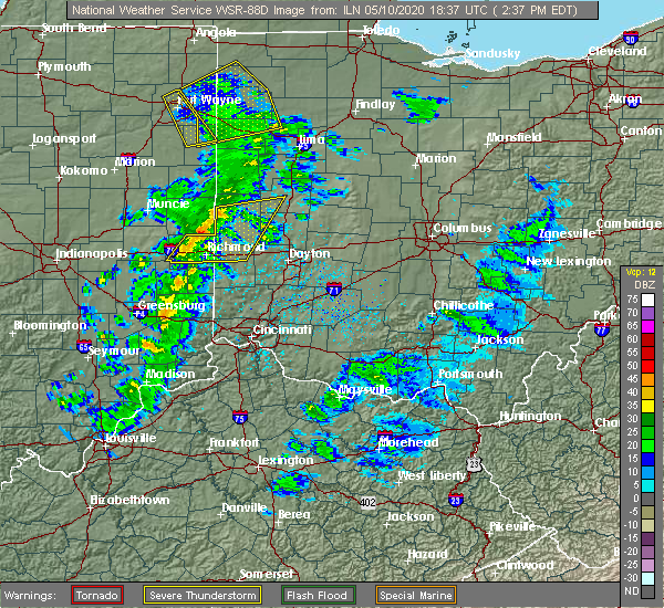 Radar Image for Severe Thunderstorms near Mount Auburn, IN at 5/10/2020 2:40 PM EDT