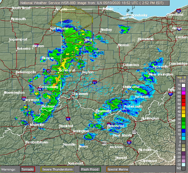 Radar Image for Severe Thunderstorms near Richmond, IN at 5/10/2020 2:55 PM EDT